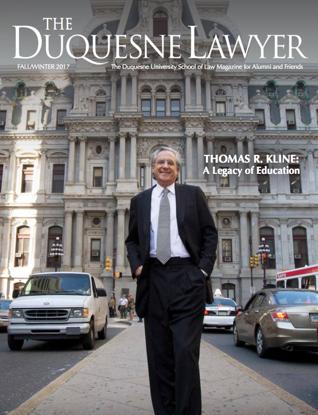 Cover of the Fall, Winter 2017 issue of Duquesne Lawyer magazine