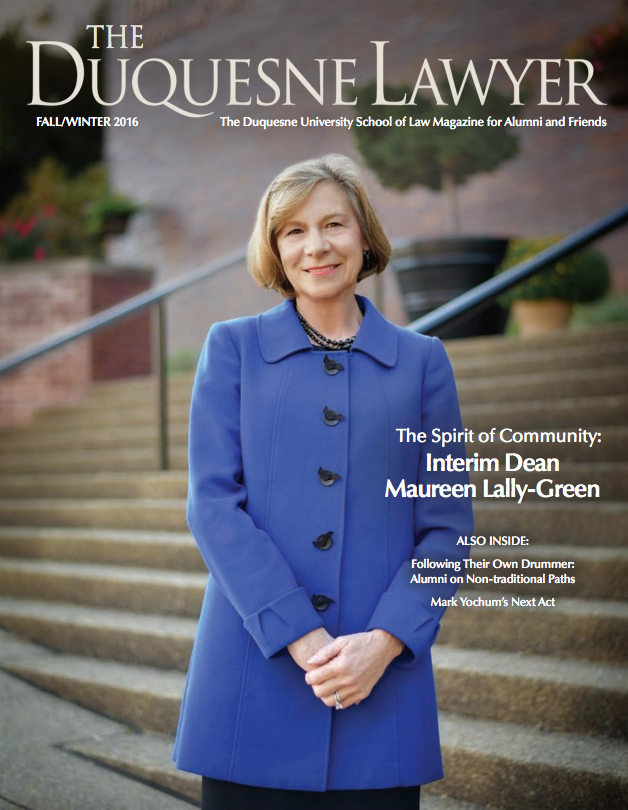 cover of the Fall,Winter 2016 issue of Duquesne Lawyer magazine
