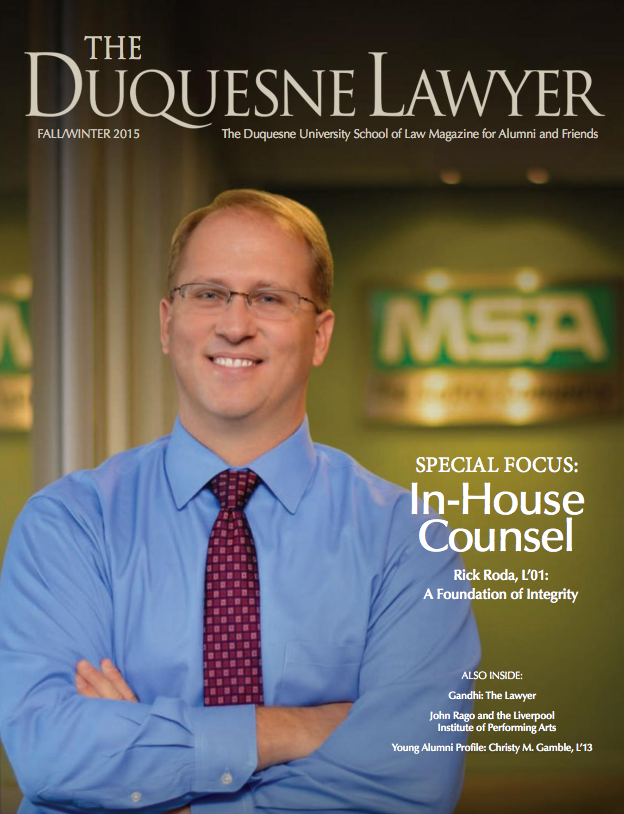 Cover of Winter 2015 issue of Duquesne Lawyer magazine