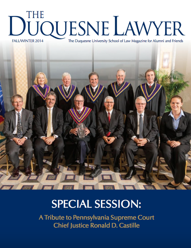 Cover of Winter 2014 issue of Duquesne Lawyer magazine
